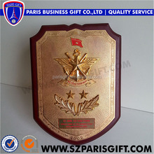 Vietnam Wooden Shield With Gold Plaque