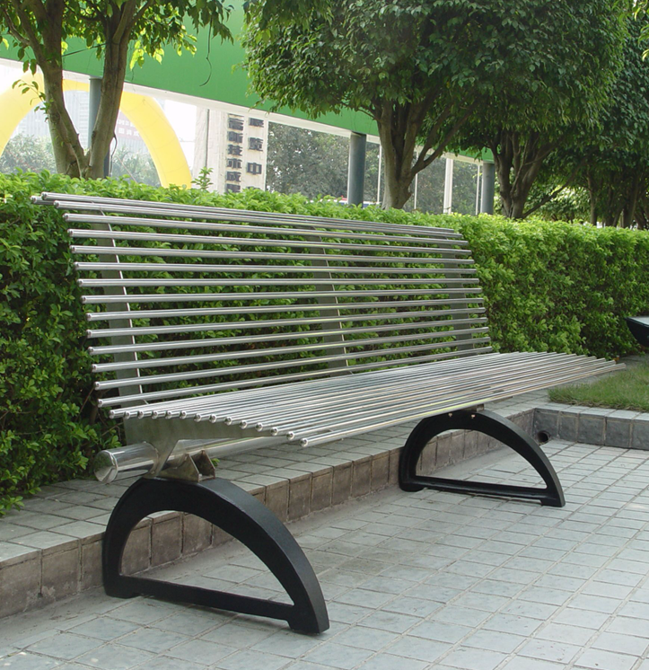 Stainless steel outdoor bench with cast iron base