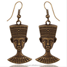 Best Selling Egyptian Pharaoh Head Pendant Ear Danglers Vintage Alloy Cultural King Head Charm Dangling Earrings Hewelry Yiwu