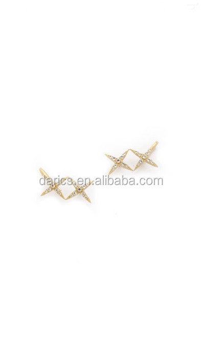 Hot sale high quality fashin gold color crystal cross 925 silver stud earring