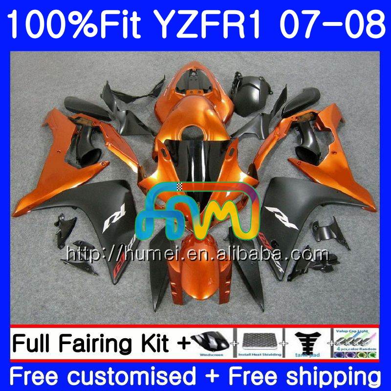 Injection Bodys For YAMAHA YZF Orange black 1000 R 1 YZF <strong>R1</strong> 07 <strong>08</strong> 90HM18 YZF1000 YZFR1 07 <strong>08</strong> YZF-1000 YZF-<strong>R1</strong> 2007 2008 <strong>Fairing</strong>