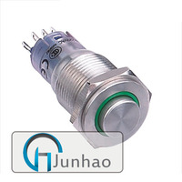 16mm high round ring illuminated metal push button switch