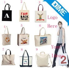 Customized Cute Cartoon Logo Print Cotton Canvas Tote Shopping Bag