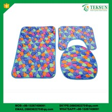 High quality 3pcs bath mat set coral fleece custom bath mat