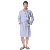Hot selling blue soft cotton quilted bathrobe