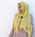 New design plain lace cotton scarf fashion design women muslim hijab scarves GBS162
