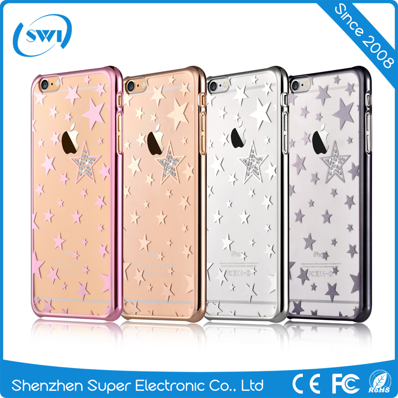 Fashion Design Twikle Star Crystal Electroplating PC Back Cover Case for iPhone 6/6s Plus
