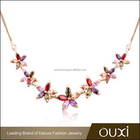 OUXI China best brand alibaba big sale color flower fashion leader jewelry