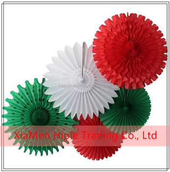 Tissue Paper Fan Red White Green Celebration Christmas hanging decoration