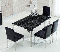 Modern style marble top glass dining table chair