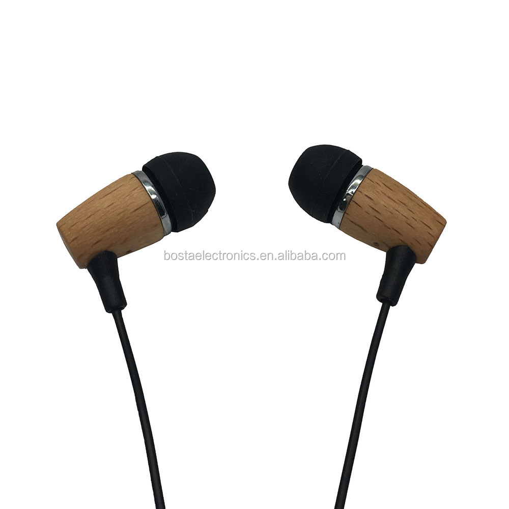 Wholesale New Style High-Quality In-Ear Wired Bass Wooden Earphone For Mobile Phone