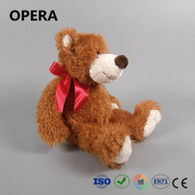 furry brown soft material red bow ribbon plush cute teddy bears pictures