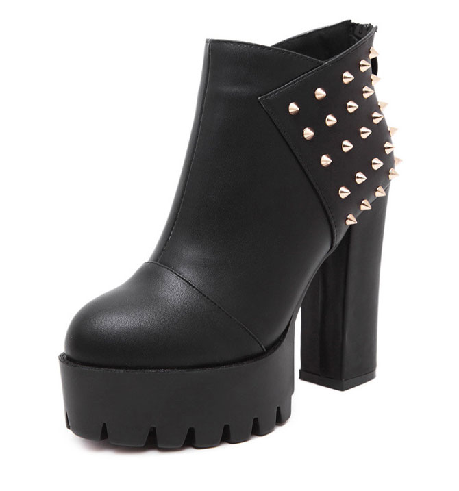 Trendy Women Girls Winter Round Head Revit High Heel Ankle Rain <strong>Boots</strong>