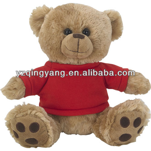High quality stuffed animal toy soft plush teddy bear toy in red T-shirt
