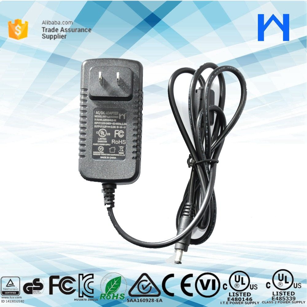 Level 6 12V 2Amp power supply adapter with UL CE FCC cuL KC GS SAA approved