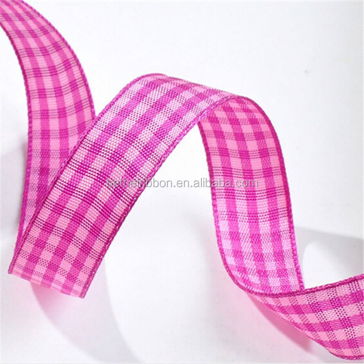 Professional Manufacture plaid material custom print 3 inch grosgrain ribbon