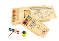 DIY wooden drawing pencil case box with painting