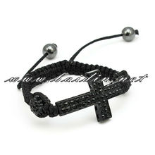 black 2-row sidecross adult shamballa bracelet