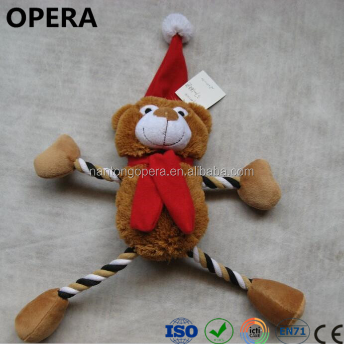 novelty design popular rope soft plush stuffed xmas gifts dog toys with squeakers
