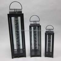 decorative 3pcs metal iron candle lantern with clear glass