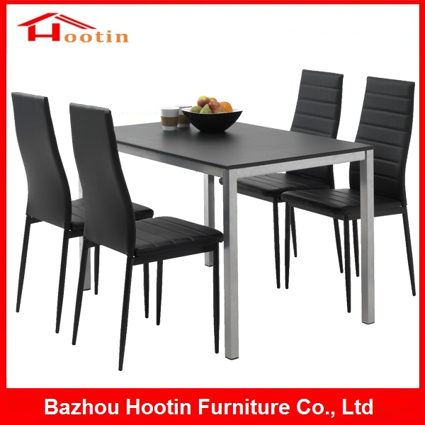 High Quality Dining Room Furniture Black Glass Top Dining Table 4 Leather Chairs Modern Corner Fashion Formal Dining Table Set