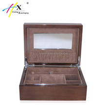 Alibaba multiple jewelry packaging case, cosmetic box with mirror on top, velvet insert luxury wood jewelry box