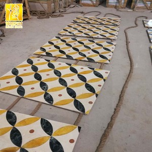 Magic Rectangle Marble Waterjet Medallions pattern for floor