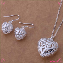 Fashion jewelry factory 925 silver plated necklace set hollow out heart necklace wholesale