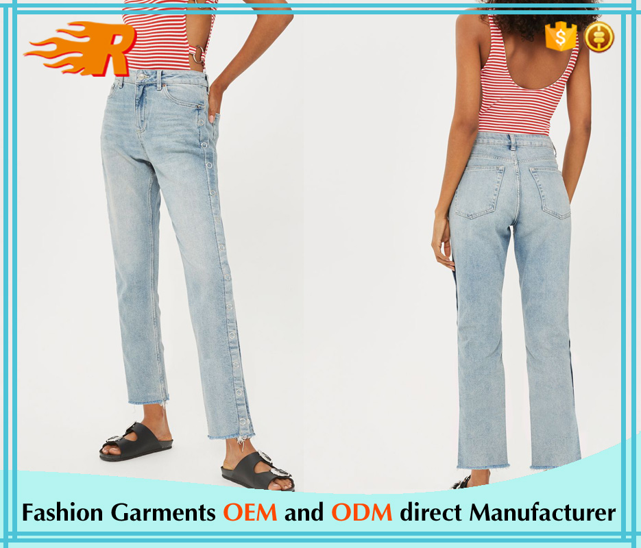 China Wholesale Price Petite Raw Hem Popper Cropped Women Denim Jeans