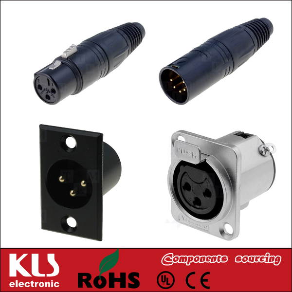 Good quality 4 pin mini panel mount xlr connector UL CE ROHS 098 KLS Brand