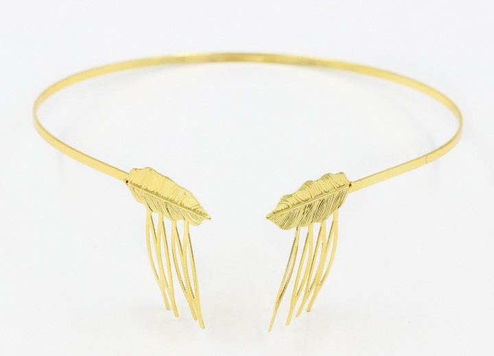 H794-352 the latest new design hair accessories gold metal leaf <strong>headband</strong> with combs