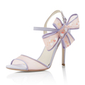 Top fashion style Mesh With Bowknot Peep Toe Women Thin High Heel Sandals