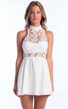 halter lace white dress/evening party club dresses/apparel wholesale model-cp261