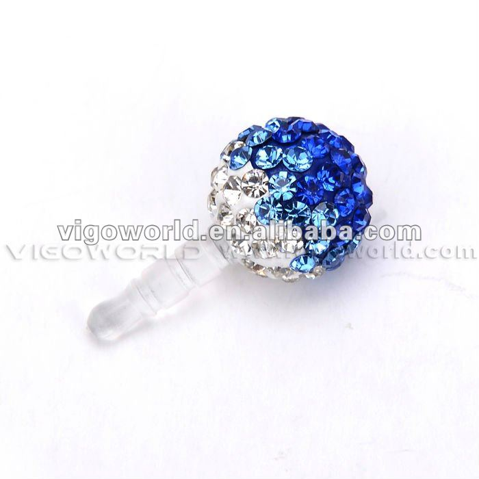 Crystal Mobile Phones Dust Plug For All Mobile Phones With 3.5mm Connectior