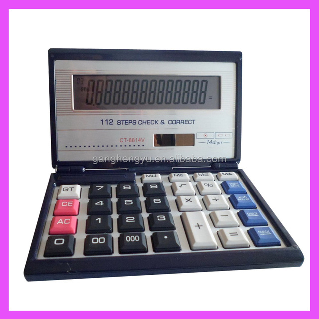 High Quality 14 Digit Solar Power Flip Cover Electronic Calculator