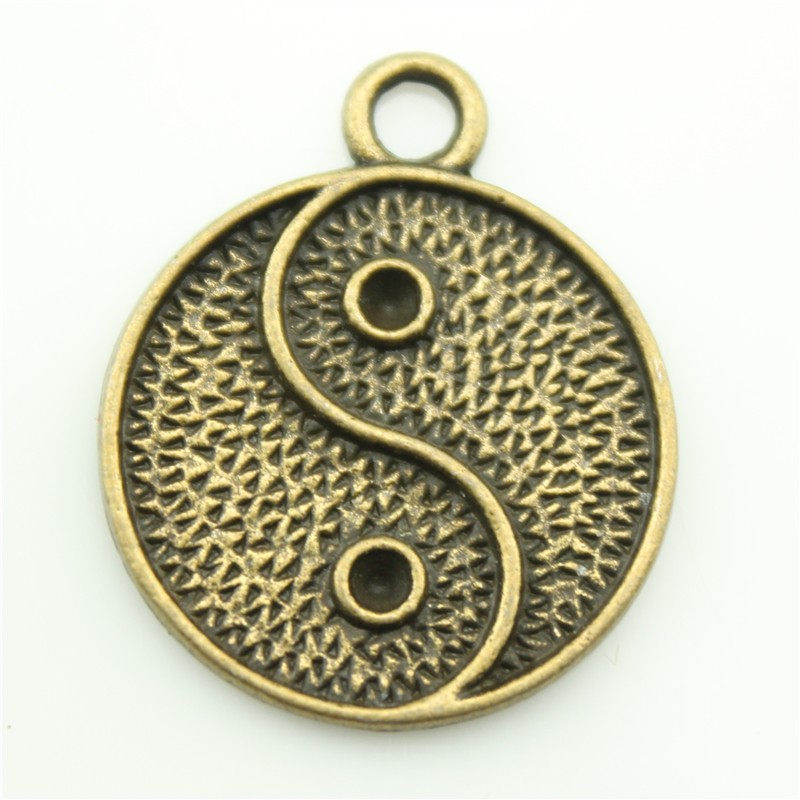 Hot Diy Jewelry Findings Wholesale 23*23mm Antique Bronze Color Yin Yang <strong>Charms</strong> A11104 For Unisex Necklace Pendants