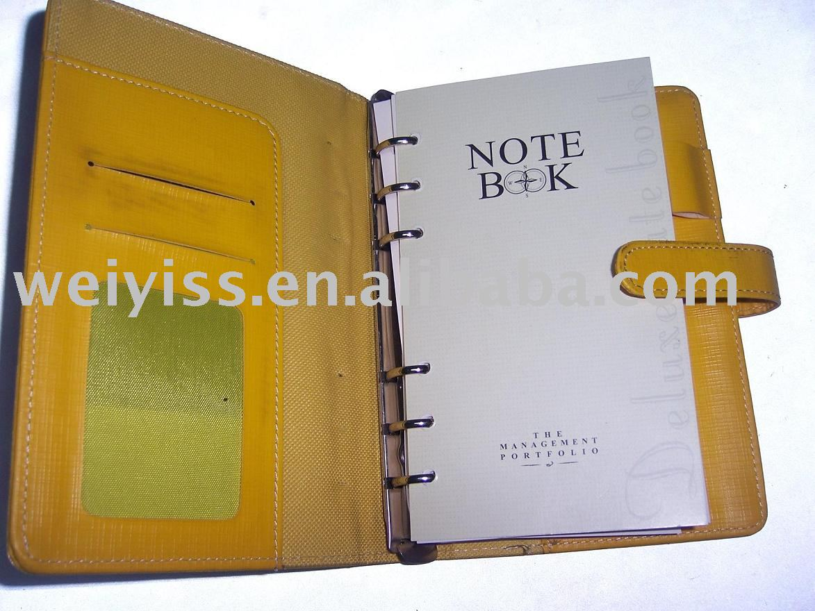 fashion zipper portfolio organizer agenda 6rings notebook business notepad pockets planner 2013