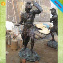 High quality hot sale life size warrior with sword and shield bronze sculpture for Europe