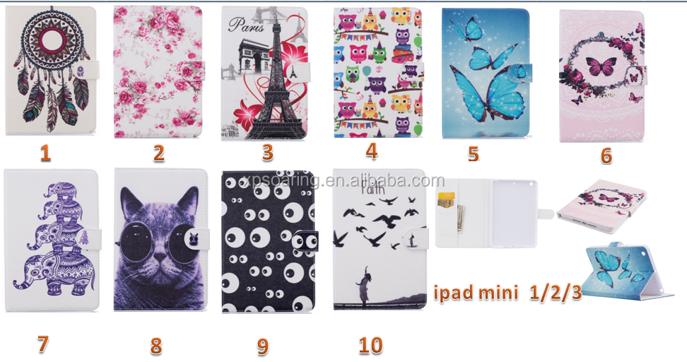 PU Leather flip mobile phone case colorful painted insertcard phone case for ipad mini 1 2 3 4