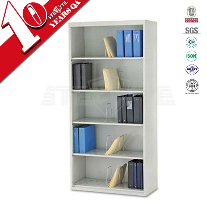 Steel office furniture vertical bookshelves / wall mounted bookcase without door