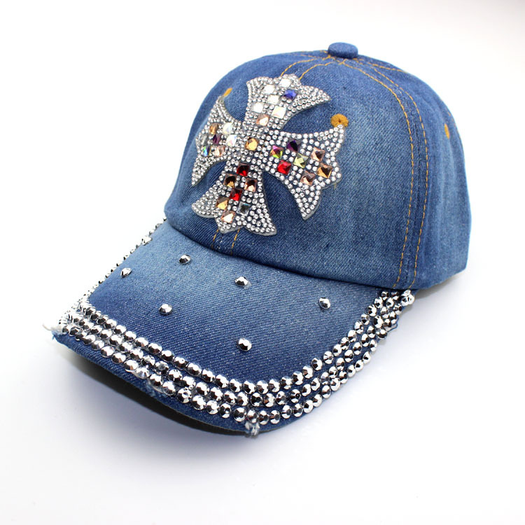New Top Design Adjustable Baseball cap Fashion Leisure Rhinestones Flowers Jean Snapback Baseball Hat Cap For