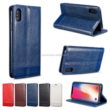 Magnet Smooth PU leather case with card slot for iPhone X