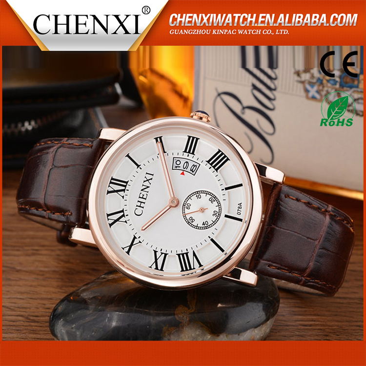 Newest Wholesale Round Custom Quartz Day/Date New Unusual Leather Watches