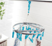 Round clothes Drying Rack with 18 plastic clips