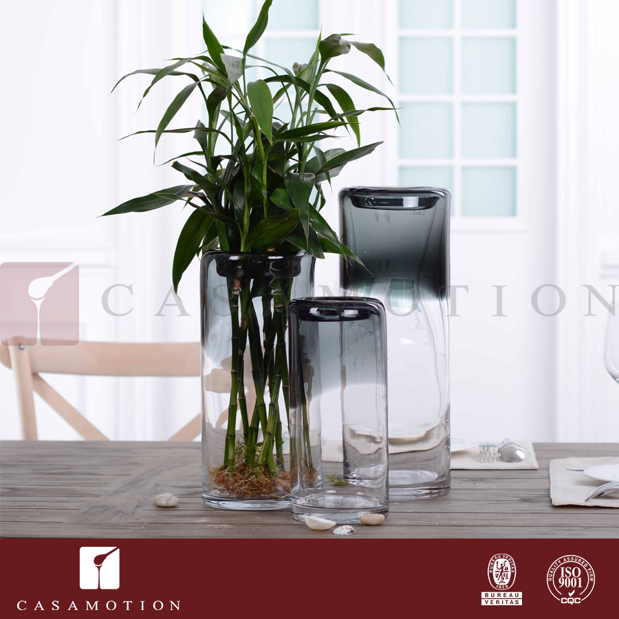 Hot Sale CASAMOTION Smoke Color Matching Mouth Blown Glass Vase with insetting mouth for Home Decoration