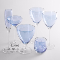 samyo transparent blue six-piece suit clear stem wine glass set