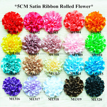 New design 5cm satin ribbon fabric rolled flower head flower,satin layered cabbage flower wholesale