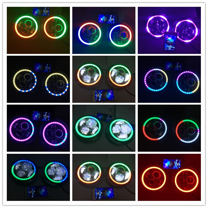 "LOYO car headlight manufacturer newest 7"" magic round 7inch RGB led headlight for Jeep Wrangler"
