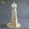 Best selling sweetheart chiffon fabric high slit real sample heavy beaded evening dress