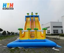 Two lanes tropical water slide giant inflatable for sale